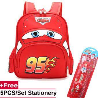 Fashion Child Kindergarten 3D Car School Bags Cartoon Backpack Boys Girls Travel Backpack(Double Pocket) - intl