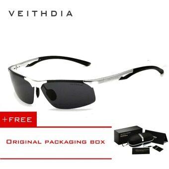 VEITHDIA อะลูมิเนียมแมกนีเซียมสนามแม่เหล็กดวงอาทิตย์กรอบแว่นตาแว่นกันแดดขับรถสุขาแว่นตาอุปกรณ์กีฬาสำหรับผู้ชายผู้ชาย 6591 (เงิน//สีเทา)