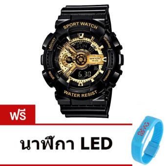 Wonderful story S SPORT นาฬิกาข้อมือ ใส่ได้ทั้งชายและหญิง กันน้ำได้-SP024 (BLACK/GOLD)แถมฟรี นาฬิกา LED ระบบสัมผัส (คละสี)