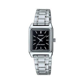 Casio Standard นาฬิกาข้อมือผู้หญิง สายสแตนเลสส รุ่น LTP-V007D-1EUDF (หน้าดำ)
