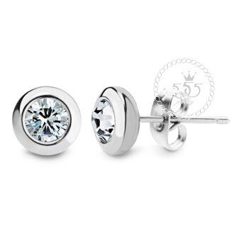 555jewelry เครื่องประดับ ต่างหูสตั๊ด สแตนเลสสตีล ก้านเสียบดีไซน์กลมขอบเรียบ ประดับ CZ รุ่น MNC-ER460-A (สีสตีลเงิน) (image 0)