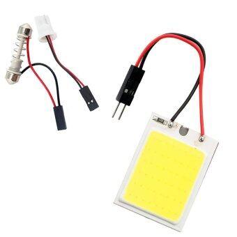 ไฟห้องโดยสาร LED แบบแผง SMD 24 ดวง แสงสีขาว พร้อมขั้ว T10 และขั้วสปริงปรับขนาดได้