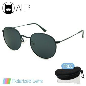 ALP Polarized Sunglasses แว่นกันแดด Round Style รุ่น ALP-3447-BKT-BKP (Black/Black)