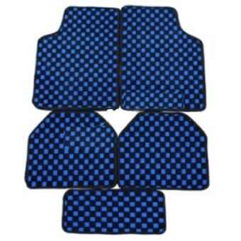 VRJ car accessories พรมปูพื้นลายหมากรุก พรมซิ่ง (Blue)
