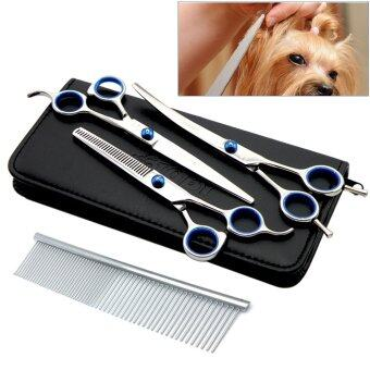 Stainless Steel Premium Curved Scissor Set Steel Curved Thinning Shear with Figher Rest and Grooming Comb for Dog Cat Pet Grooming - Intl