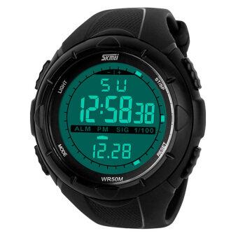 SKMEI สายยาง led หญิงกีฬานาฬิกาข้อมือกันน้ำ-สีดำ 1025