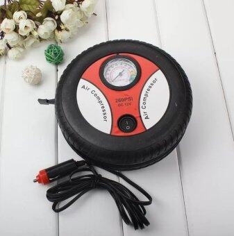 Elit Portable Electric Mini Tire Inflator Air Compressor Car Auto Pump 260PSI 12V (Black-Orange)