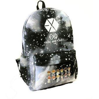 Black Unisex Galaxy Pattern Canvas Shoulder Bag Backpack SchoolBag Rucksack - Intl