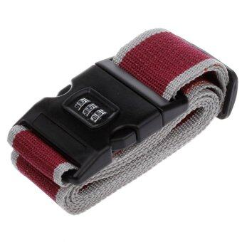 TravelGear24 สายรัดกระเป๋าเดินทาง พร้อมรหัสล็อก Travel Luggage Belt Suitcase Strap - แดงเทา/Red-Grey