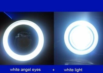 2pcs 3inch white Waterproof Projector LED Fog Light With Lens Halo Angel Eyes Rings COB 30W Xenon 12V Fog Lamp