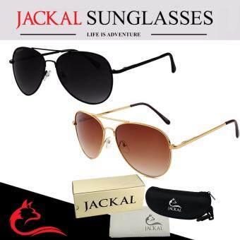 JACKAL แว่นกันแดด JACKAL SUNGLASSES รุ่น Shipmaster I JS029 และ JS030 (แว่นกันแดดคู่) Black and Brown(Black Black)