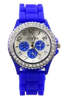 Geneva นาฬิกาข้อมือผู้หญิง สีน้ำเงิน สายซิลิโคน