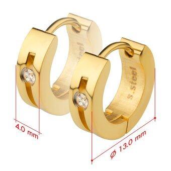 555jewelry เครื่องประดับผู้หญิง ต่างหูห่วง สแตนเลสสตีล ดีไซน์เรียบหรู ประดับ CZ รุ่น MNC-ER500-B (สีทอง) (ER35) (image 2)