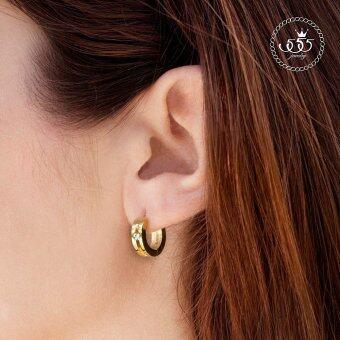 555jewelry เครื่องประดับผู้หญิง ต่างหูห่วง สแตนเลสสตีล ดีไซน์เรียบหรู ประดับ CZ รุ่น MNC-ER500-B (สีทอง) (ER35) (image 1)