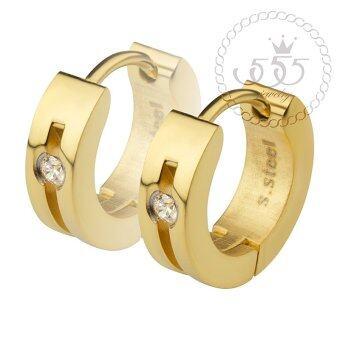555jewelry เครื่องประดับผู้หญิง ต่างหูห่วง สแตนเลสสตีล ดีไซน์เรียบหรู ประดับ CZ รุ่น MNC-ER500-B (สีทอง) (ER35)