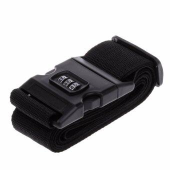 TravelGear24 สายรัดกระเป๋าเดินทาง พร้อมรหัสล็อก Travel Luggage Belt Suitcase Strap(Black/สีดำ)