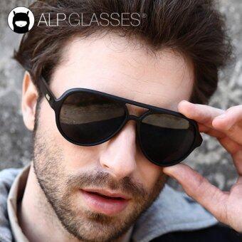ALP Polarized Sunglasses แว่นกันแดด Aviator Style รุ่น ALP-0016-BKT-BKP-WD (Black/Black)