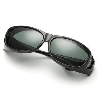 แว่นกันแดด สวมทับแว่นสายตาได้ Fit Over Polarized Sunglasses (สีดำด้าน/เลนส์เทา)