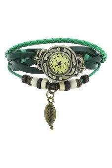 BlueLans สตรีสีเขียวนาฬิกาข้อมือหนัง