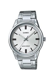 Casio Standard นาฬิกาข้อมือสุภาพบุรุษ สายสแตนเลส รุ่น MTP-V005D-7AUDF - สีเงิน/สีขาว image