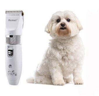 Kemei Dogs Grooming Trimmers-Kemei ปัตตาเลี่ยนตัดขนสุนัขไร้สาย เครื่องตัดแต่งขนหมาไร้สาย ใบมีดเซรามิคไททาเนี่ยมคมกริบ พร้อมรองหวีตัดแต่งได้ 5 ระดับความยาวขน (KM-107)
