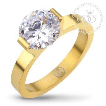 555jewelry เครื่องประดับ ผู้หญิง แหวน สแตนเลสสตีล - แหวนน่ารักประดับ CZ สีขาวตัวเรือน สี ทอง รุ่น MNC-R674-B