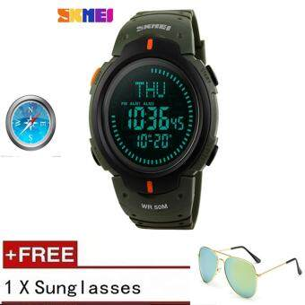 [100% Genuine] 2017 SKMEI 1231 Outdoor Sports Compass Watches Hiking Men Watch Digital LED Electronic Watch Man Sports Watches Chronograph Men Clock 【buy 1 get 1 sunglasses】 - intl