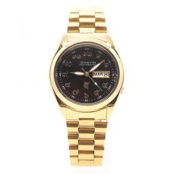 CONAVIN นาฬิกาข้อมือผู้ชาย ระบบ Quartz เรือนทอง สายทอง3ไมครอนพร้อม วันที่,สัปดาห์ หน้าปัดดำตัวเลขไทย รุ่น CONG-1109GW image