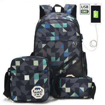 Backpack bag bag, female male junior middle school students of Korean high school students of Oxford leisure air spinning backpack (buy 1 get 3 free) - intl