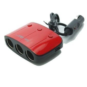 SAST AY-T11 by 9FINAL ขยายช่องจุดบุหรี่ 3 ช่อง พร้อม usb charger 2 port พร้อมระบบป้องกันการจ่ายไฟ (สีแดง/ดำ) (image 0)