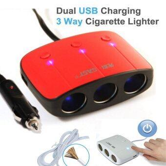 SAST AY-T11 by 9FINAL ขยายช่องจุดบุหรี่ 3 ช่อง พร้อม usb charger 2 port พร้อมระบบป้องกันการจ่ายไฟ (สีแดง/ดำ) (image 1)