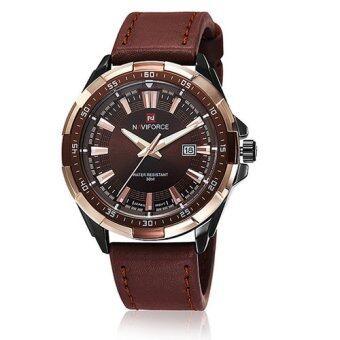 NAVIFORCE นาฬิกาข้อมือผู้ชาย สีน้ำตาล สายหนัง รุ่น NF9056-BR2