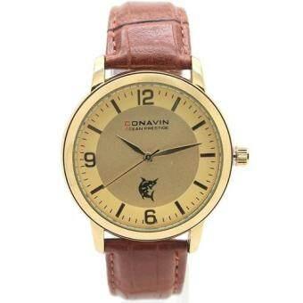 CONAVIN นาฬิกาข้อมือผู้ชาย เรือนทอง สายหนังแท้ ระบบ Quartz หน้าปัดคลาสสิค รุ่น CON-1118TG image