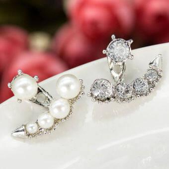 Fashion Women Pearl Crystal Rhinestone Ear Ear Stud Earrings Jewelry Gift New Silvery