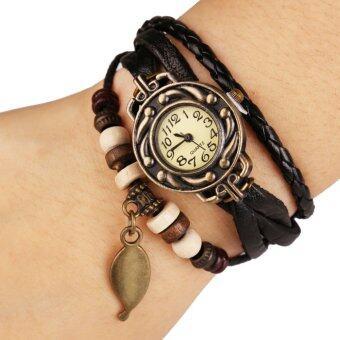 AliZ นาฬิกาข้อมือหนังแฟชั่นวินเทจผู้หญิง สีน้ำตาล