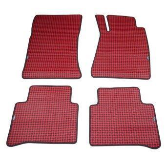 ALLY พรมปูพื้นรถยนต์ M-Benz CLS-Class + แผ่นรองส้นเท้า รุ่น D22 - สีดำ/แดง