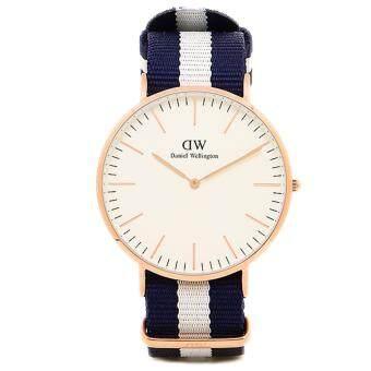 Daniel Wellington 0104DW Classic Glasgow Eggshell White 40mm นาฬิกาข้อมือ แฟชั่น ผู้ชาย สายไนล่อน สีทองแดง Men Watch - Rose Gold Case Blue Strap image