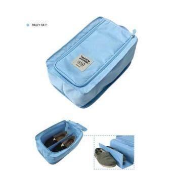 กระเป๋ารองเท้า กระเป๋าใส่รองเท้า Shoes Pouch Portable Shoes Organizer Shoes Bag สีฟ้า