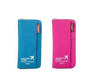 Productdd Passport Holder set กระเป๋าใส่หนังสือเดินทาง 2pcs (Blue + Pink)