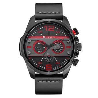 Curren นาฬิกาข้อมือผู้ชาย สายหนังสีดำ หน้าปัดสีดำ/แดง รุ่น C8259
