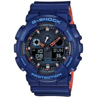 Casio G-Shock นาฬิกาข้อมือผู้ชาย สายเรซิ่น รุ่น GA-100L-2A - สีน้ำเงิน image