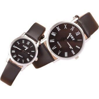 MEGA Quartz Waterproof Slim PU Leather Wristwatch Lover Couple Watch หรูหรานาฬิกาข้อมือ สายหนัง กันน้ำ นาฬิกาคู่ รุ่น MG0011 (Black)