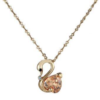 One Zero One Aamazing fashion eye-catching women gold plated swan shape setting orange diamond pendant necklace - Intl