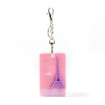 Eiffel Tower Square Bus Card Sleeve Pink