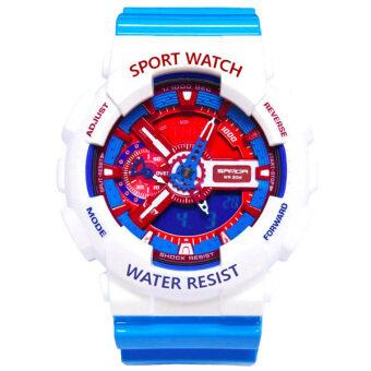 Sanda Sport นาฬิกาข้อมือ แฟชั่น ดิจิตอล กันน้ำ สีขาว ฟ้า ผู้ชาย Fashion Analog Digital LED Waterproof Multifunction Men Watch - White Blue