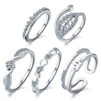 ลาวี 5ชิ้น/แหวนเพชรมงกุฎใบไม้เซ็ตแก้วแหวนเพชรหัวใจ (เงิน) (ในประเทศ)