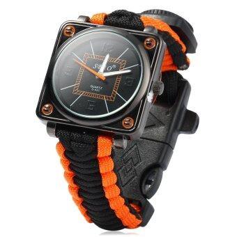 Paracord นาฬิกากลางแจ้งมีเครื่องนุ่งห่มสีดำ และส้ม