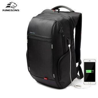 Kingsons KS3140W 15.6 Inch City Elite Bag Designer Laptop Backpack Water-Resistant Anti-Theft Laptop Rucksack with USB Charging Port Black - intl