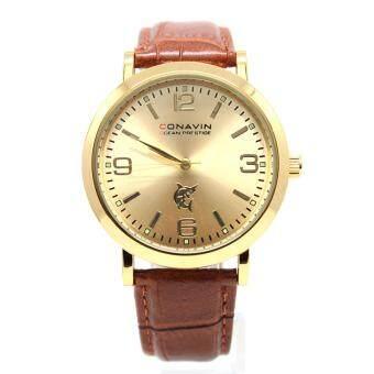 CONAVIN นาฬิกาข้อมือผู้ชาย เรือนทอง สายหนังแท้ ระบบ Quartz หน้าปัดคลาสสิค รุ่น CON-TG-1 image