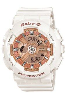 Casio Baby-G นาฬิกาข้อมือผู้หญิง สีขาว/พิงค์โกล สายเรซิ่น รุ่น BA-110-7A1 ประกันCMG